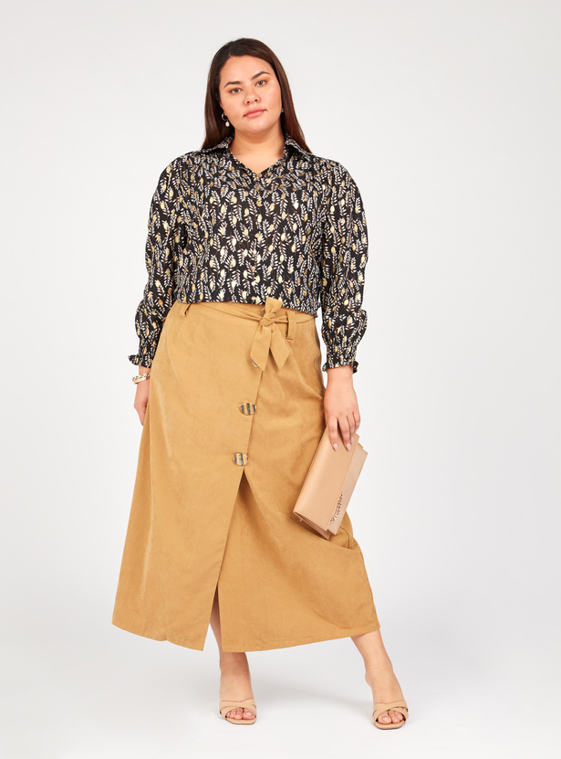Printed Shirt with Long Sleeves and Spread Collar