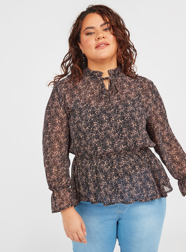 Printed Ruffle Detail Top with Long Sleeves and Tie Ups