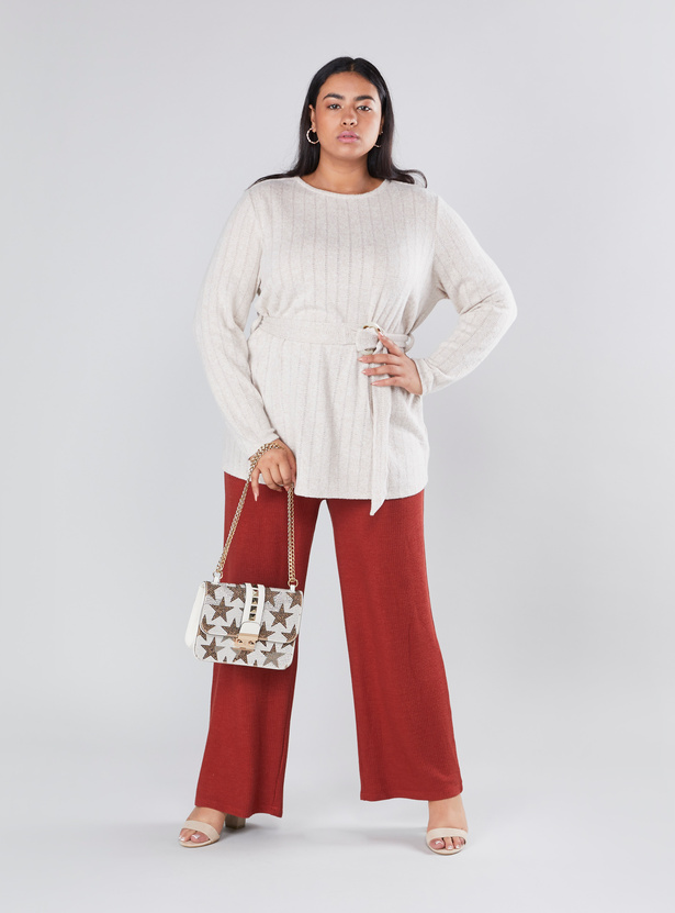 Textured Mid Rise Palazzo Pants with Elasticised Waistband