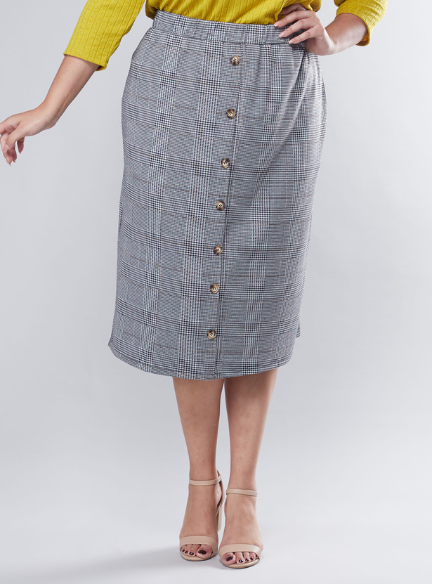 Chequered Midi Skirt with Elasticised Waistband