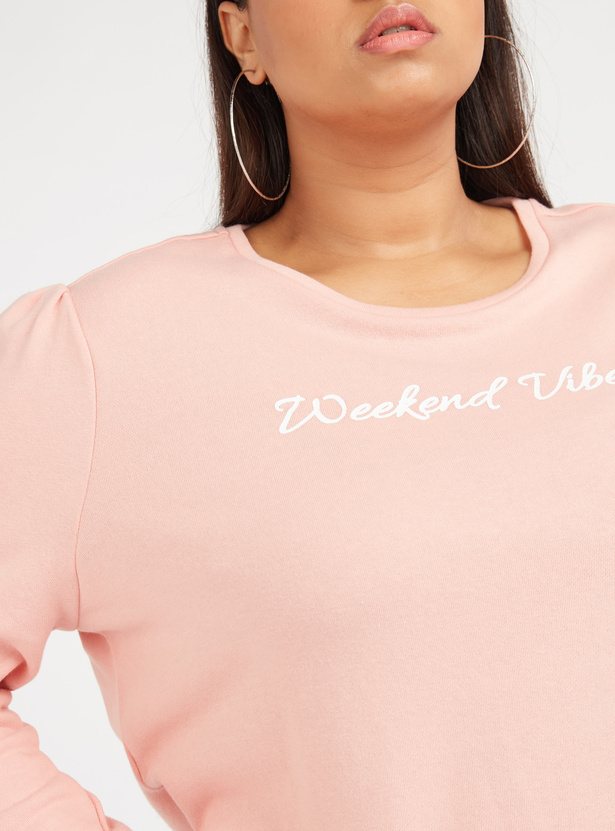 Typographic Print Top with Round Neck and Long Sleeves