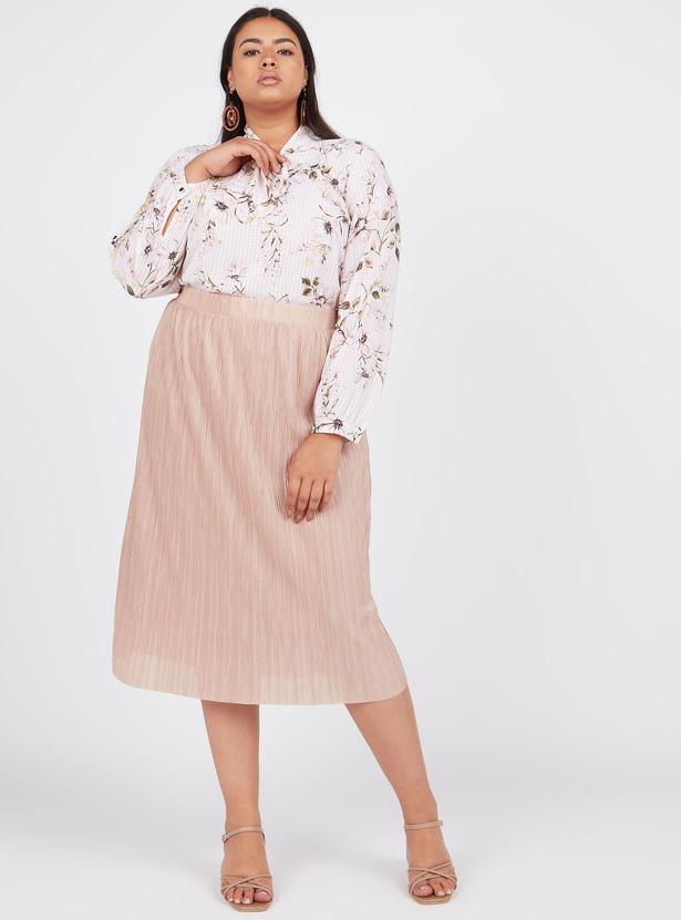 Textured Midi A-line Skirt with Elasticised Waistband
