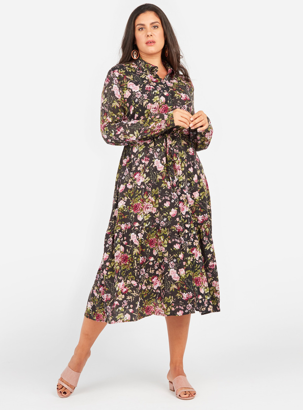 Floral Print Midi Shirt Dress with Spread Collar and Long Sleeves