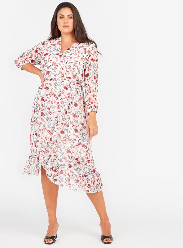 فستان إيه لاين ملفوف متوسط الطول بأكمام 3/4 وأربطة وطبعات