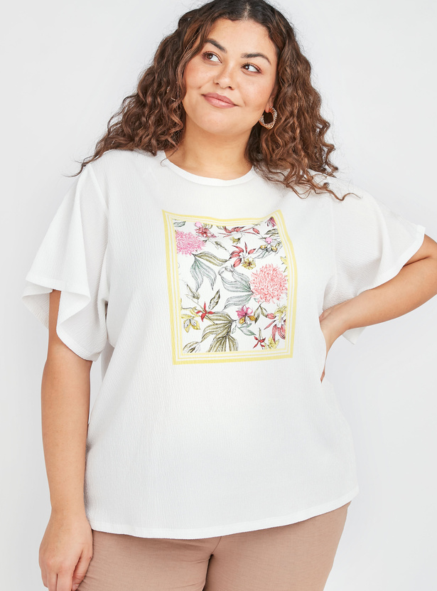 Embellished Graphic Top with Round Neck and Ruffled Sleeves