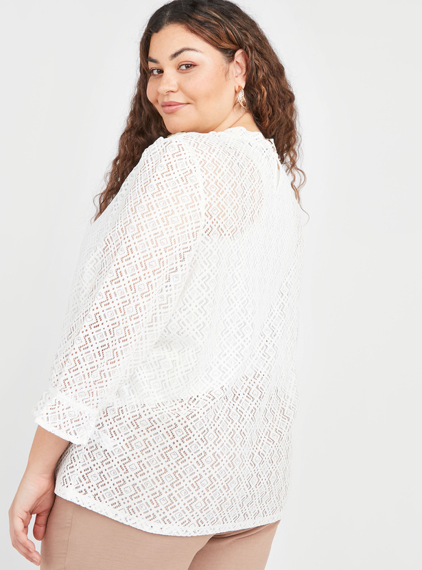Lace Top with Round Neck and 3/4 Sleeves