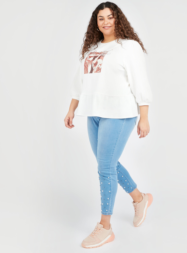 Graphic Print Top with Round Neck and 3/4 Sleeves