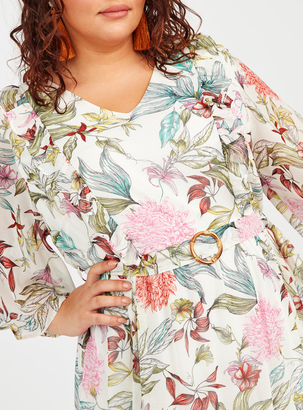 Floral Print Maxi A-line Dress with Flared Sleeves and Tie Ups