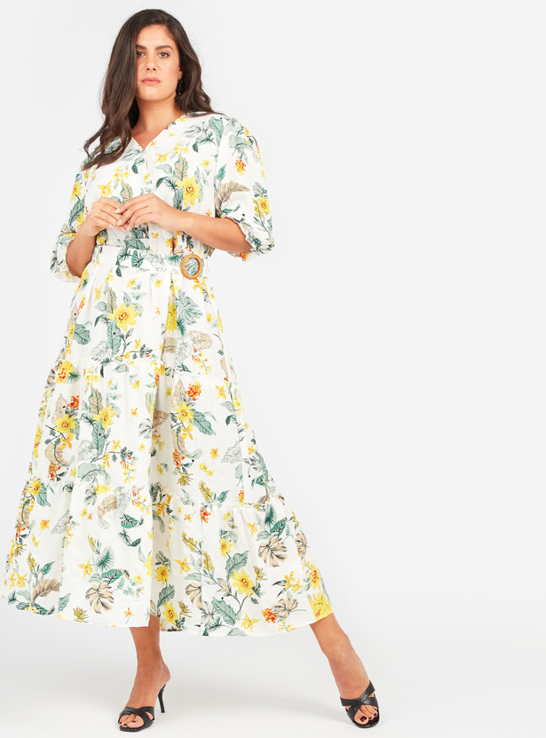 Floral Print Maxi A-line Wrap Dress with Puffed Sleeves and Belt