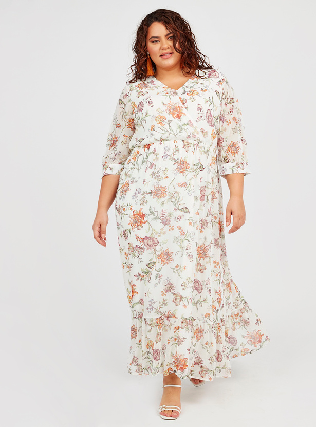 Floral Print Maxi A-line Wrap Dress with 3/4 Sleeves and Tie Ups