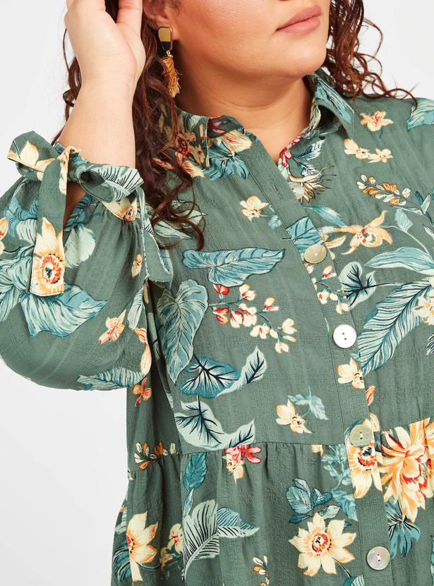 Floral Print Ruffled Tunic with Spread Collar and 3/4 Sleeves