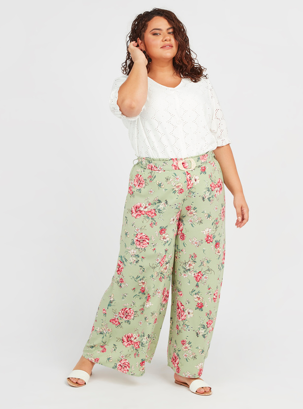 Floral Print Palazzos with Belt Detail
