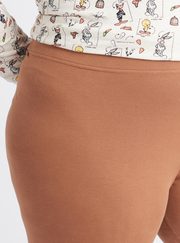 Solid Anti-Pilling Mid-Rise 3/4 Leggings with Elasticated Waistband