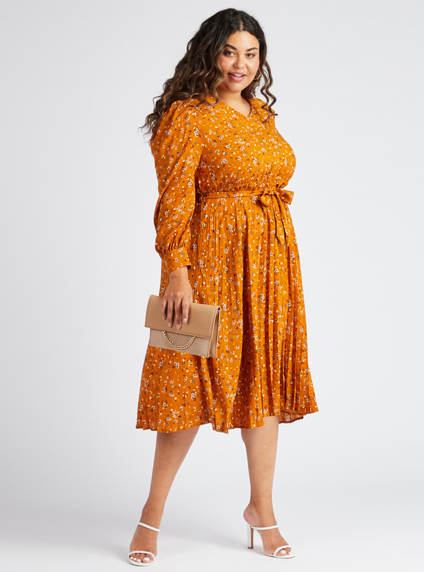 Floral Print V-neck Midi A-line Dress with Long Puff Sleeves