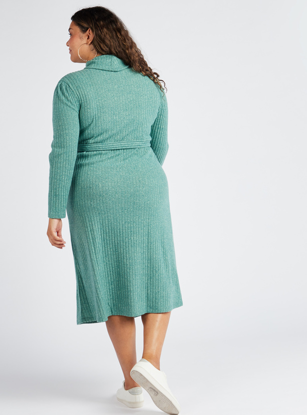 Ribbed Turtle Neck Midi Shift Dress with Long Sleeves and Belted Waist