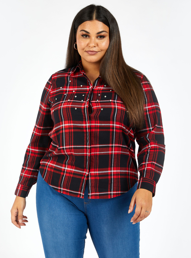 Checked Long Sleeves Shirt with Collared Neck and Button Closure