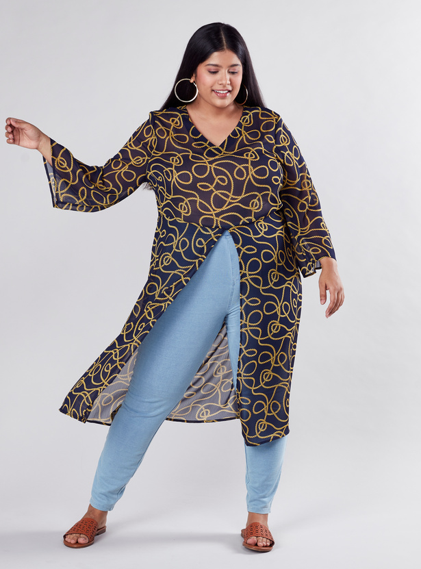Printed Longline Tunic with V-neck and Long Sleeves