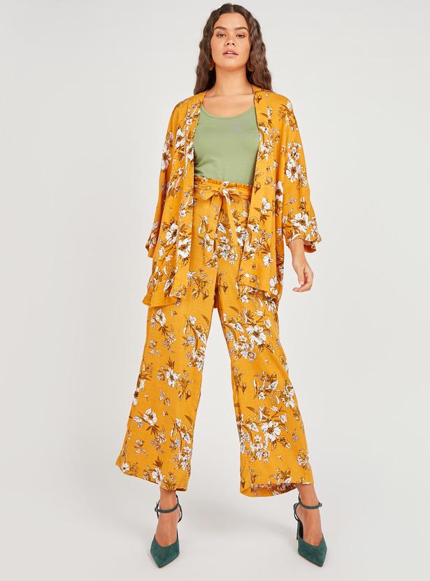 Floral Print Kimono Shrug with 3/4 Sleeves