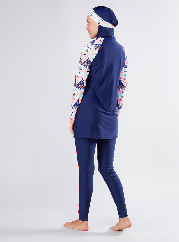 Printed Burkini with Raglan Sleeves