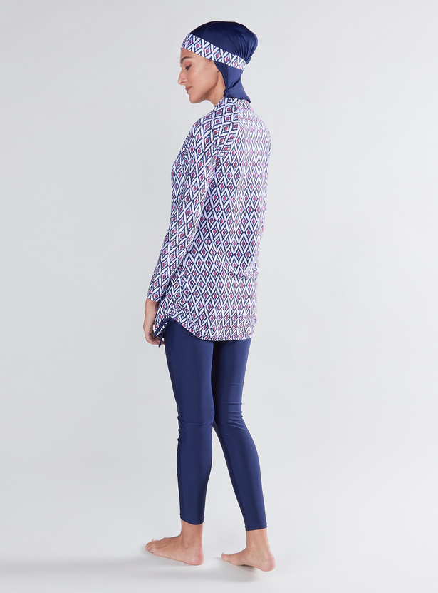 Printed Long Sleeves Burkini with Tights