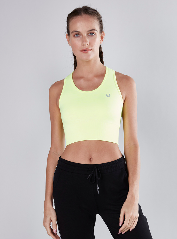 Solid Seamless Sports Bra with Racerback