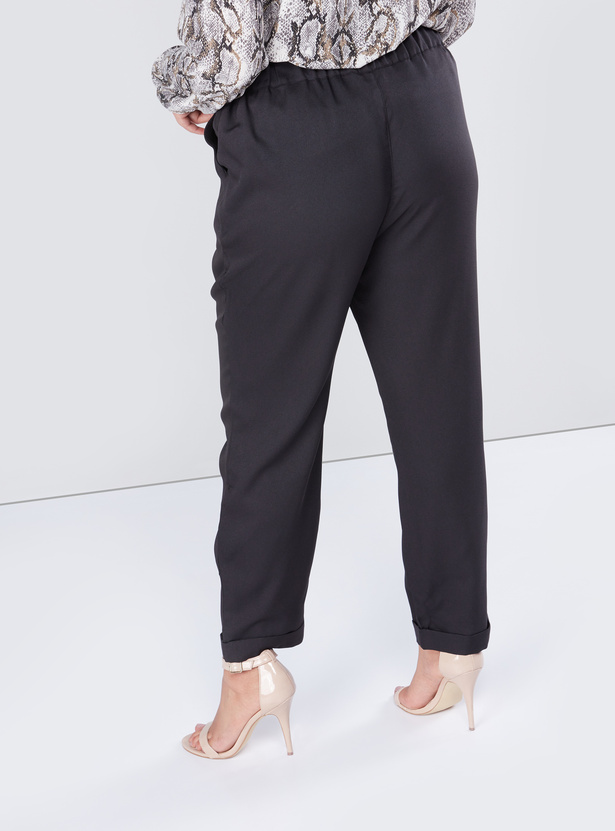 Solid Formal Pants with Pocket Detail