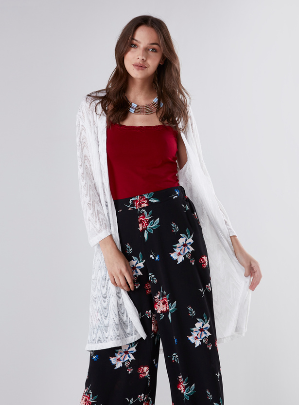 Textured Longline Shrug with Long Sleeves