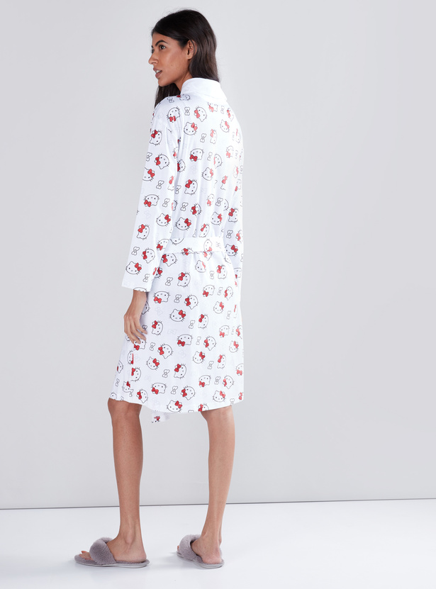Hello Kitty Printed Robe with Tie-Ups