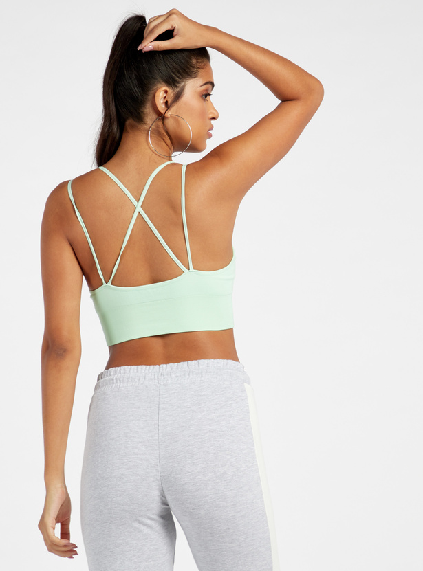 Solid Cross Strap Sports Bra with Elasticated Hem