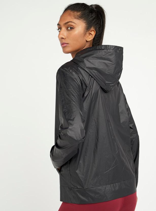 Printed Hooded Jacket with Long Sleeves and Zip Closure