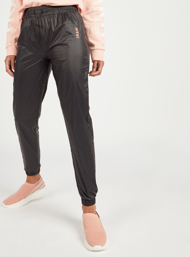 Solid Jog Pants with Elasticised Waistband and Drawstring Closure