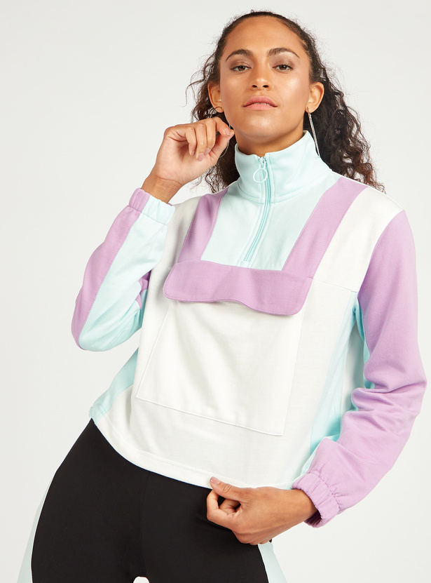 Colour Block Jacket with Long Sleeves and Zip Closure