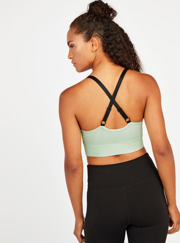 Slim Fit Solid Sports Bra with Adjustable Cross Straps