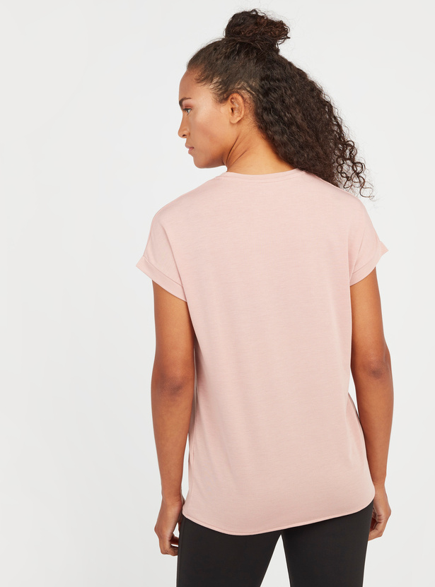 Printed T-shirt with Extended Sleeves and Tie Ups