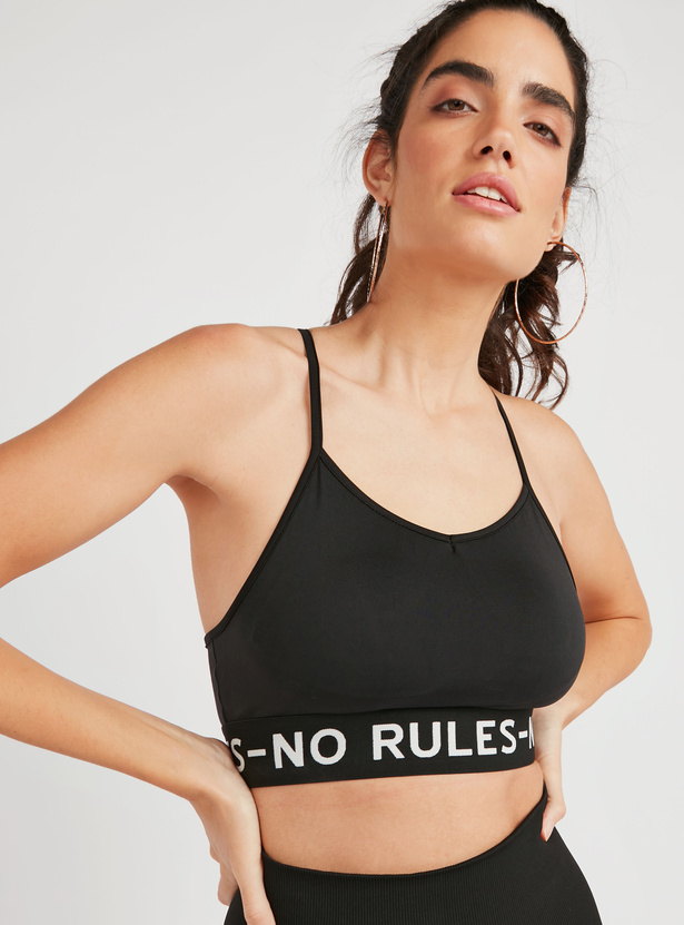 Solid Sports Bra with Racerback and Printed Hem