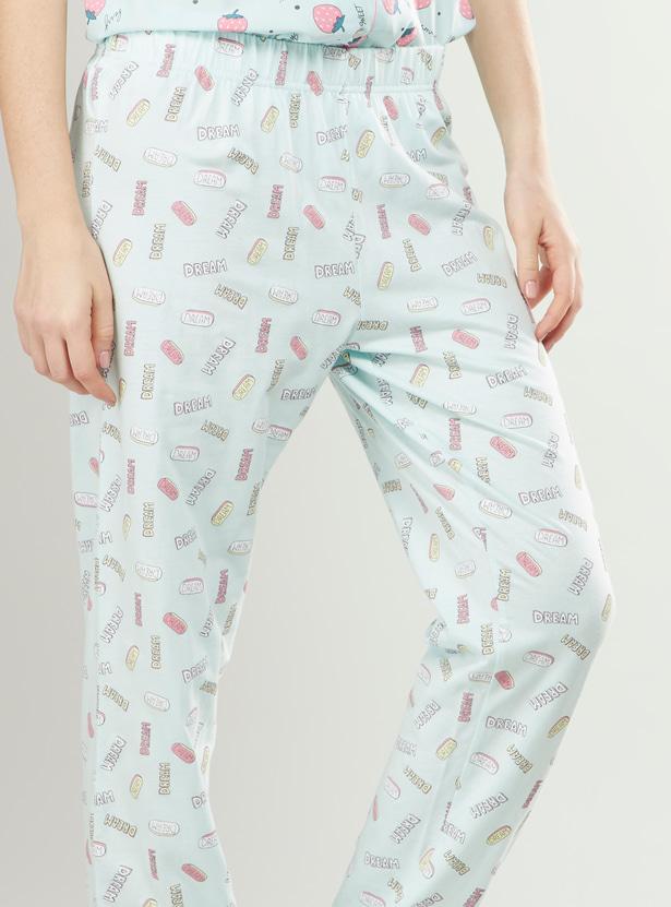 Full Length Graphic Print Pyjama Pants with Elasticated Waistband