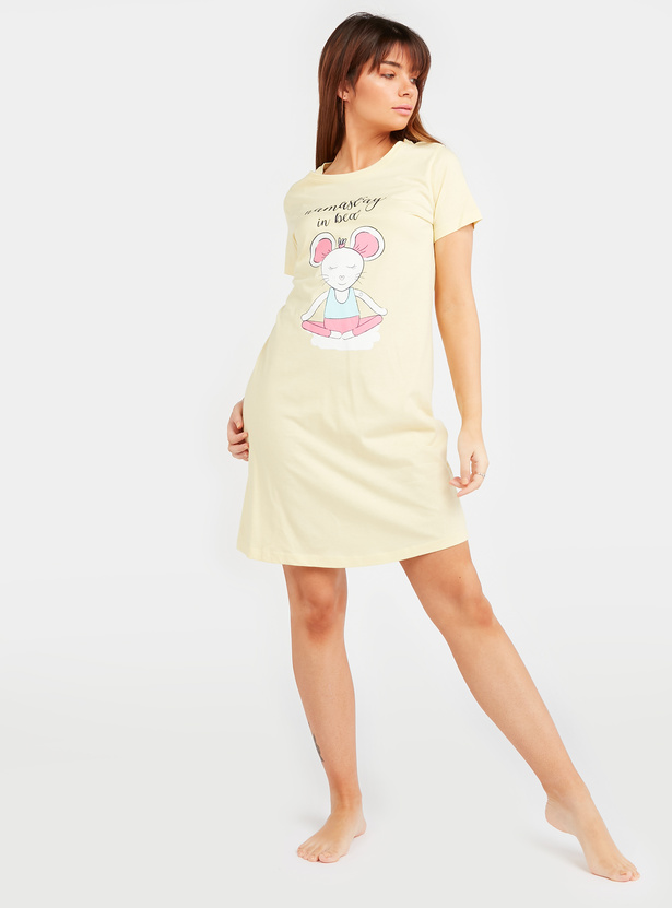 Text Print Sleepdress with Short Sleeves