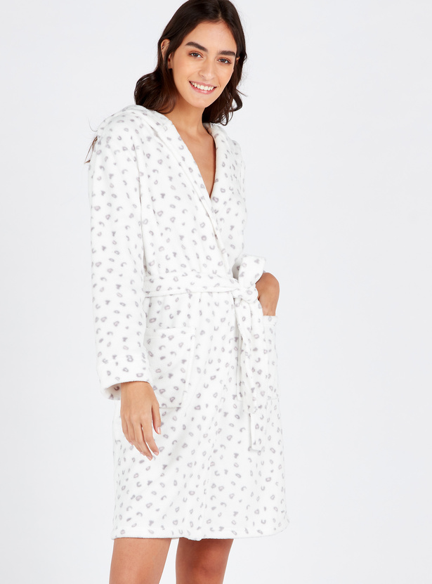 Cozy Collection Printed Hooded Neck Robe with Long Sleeves and Pockets
