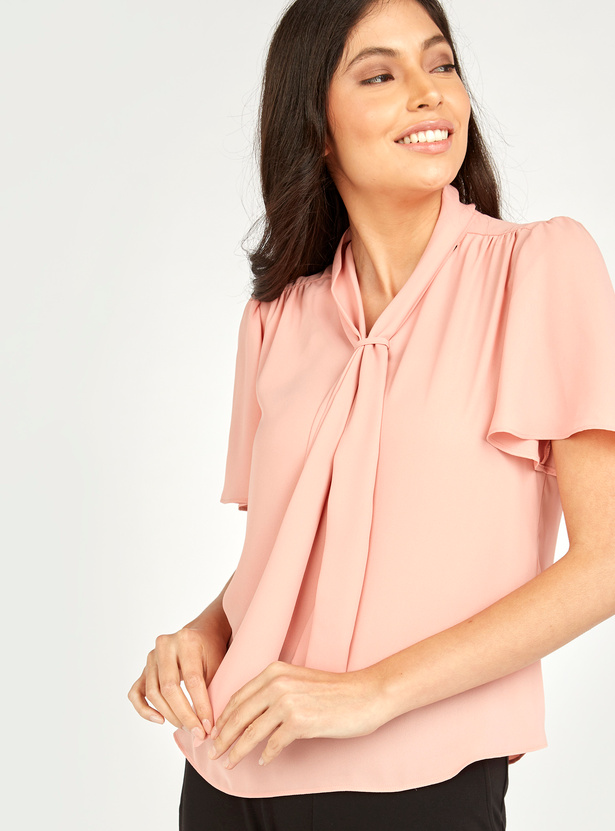 Ruffled Top with Necktie and Short Sleeves