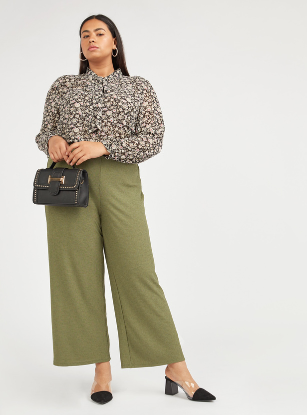 Textured Palazzo Pants with Elasticised Waistband