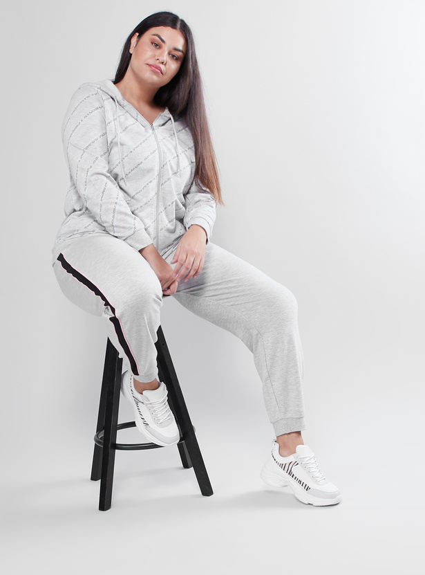 Full Length Plain Jog Pants with Tape Detail