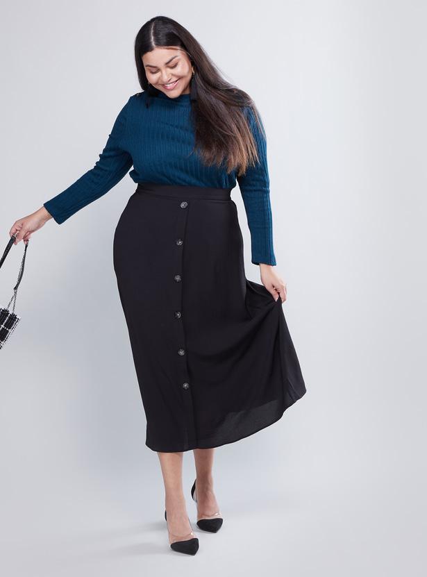 Plain Midi A-line Skirt with Elasticised Waistband