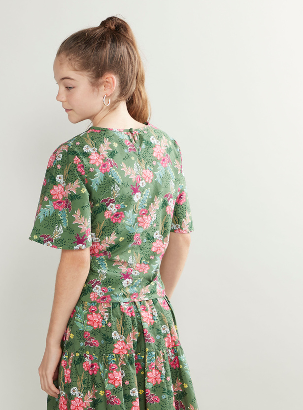 Floral Printed Top with Short Sleeves and Tie Ups