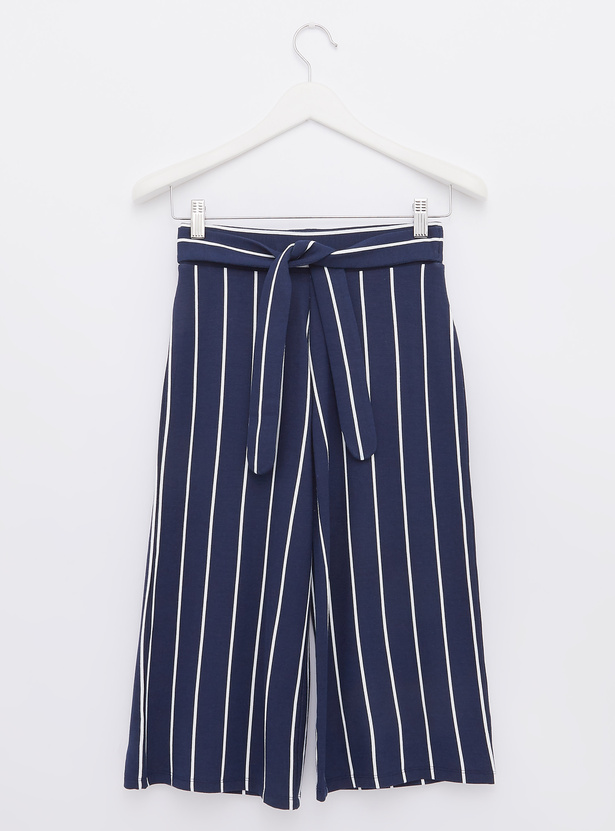 Striped Culottes with Tie Ups and Elasticised Waistband
