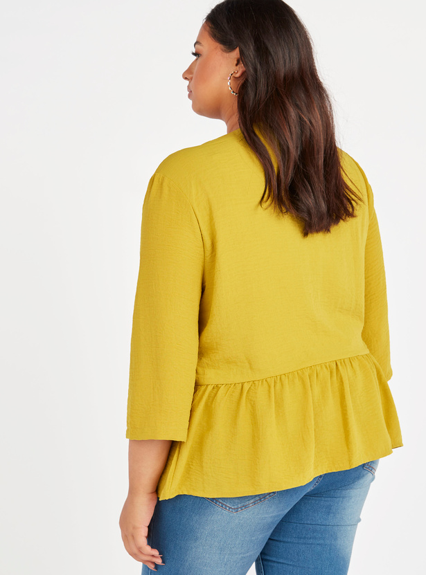 Ruffle Detail Top with V-neck and 3/4 Sleeves