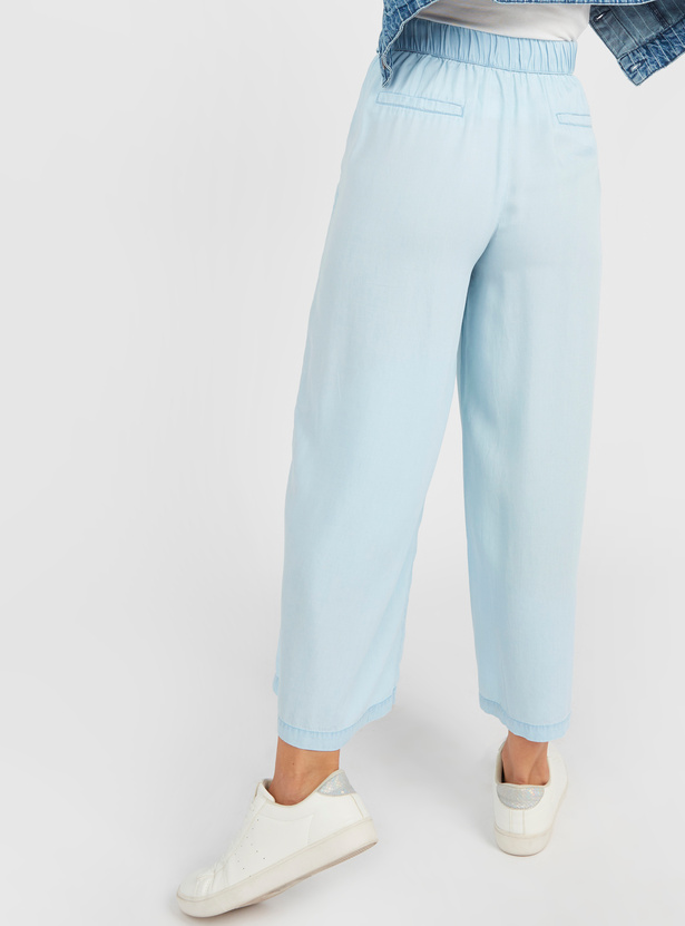 Wide Fit Denim Mid-Rise Culottes with Paperbag Waist