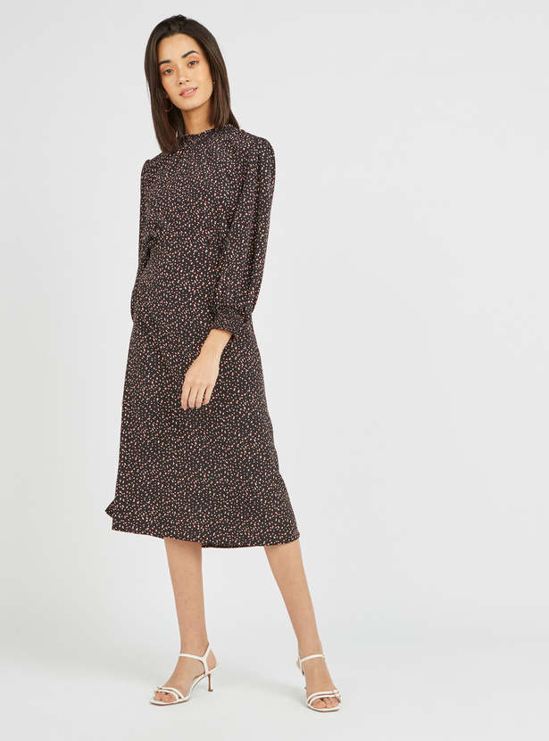 Ditsy Print High Neck Midi Dress with Long Sleeves