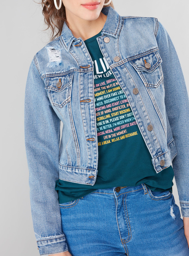 Textured Boxy Trucker Jacket with Long Sleeves