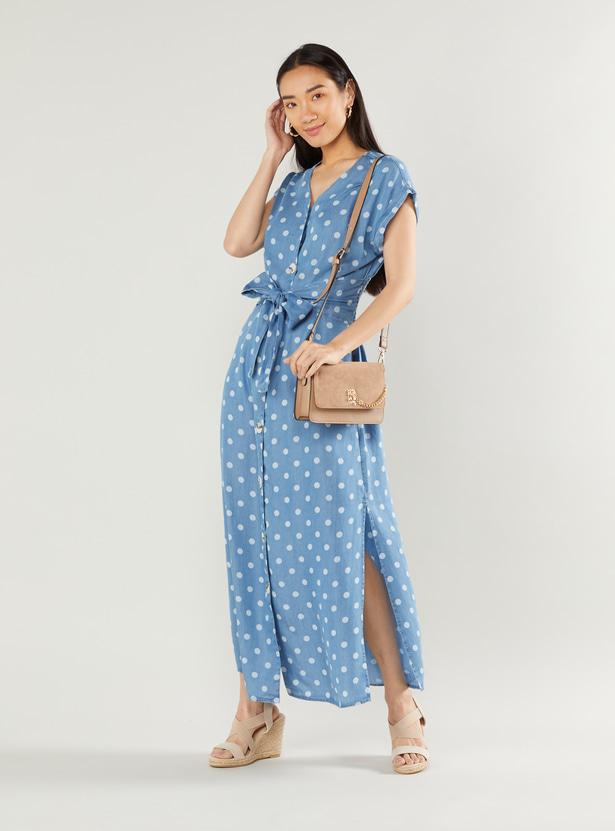 Polka Dot Print Dress with V-neck and Tie Ups