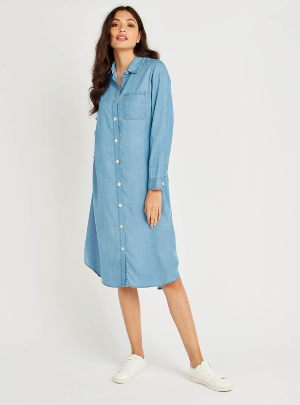 Solid Shirt Dress with Pocket Detail and Long Sleeves